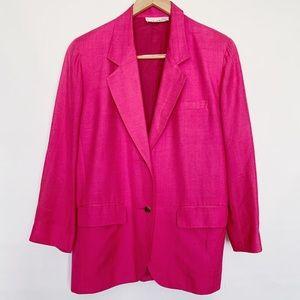 VINTAGE Anne Klein Silk Pink Blazer